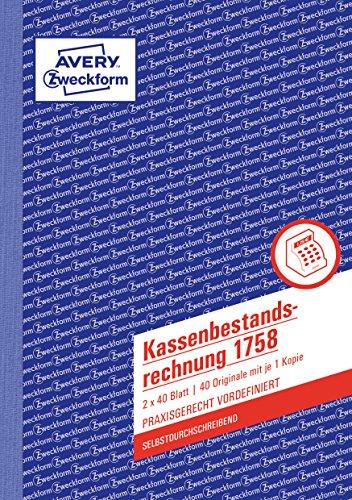 AVERY Zweckform 1758 kasboekenrekening (A5, zelfdoorschrijvend, getest door juridische experts, voor Duitsland en Oostenrijk ter ordelijke, voordelige boekking, 2x40bladen) wit/geel