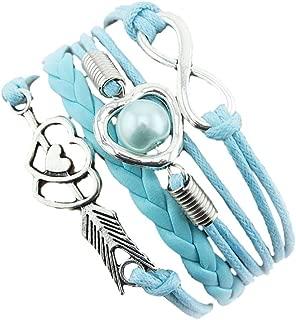 Promise Jewelry, Muranba 1PC Infinity Love Heart Pearl Friendship Antique Leather Charm Bracelet (C)