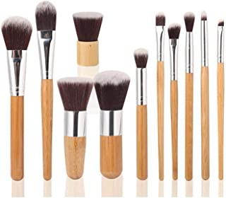 11 Piece Makeup Brushes Set | Bamboo Handle Makeup Cosmetic Eyeshadow Foundation Concealer Brush Set Pouch