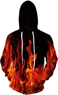 3D Graphic Print Full Zip Hooded Sweatshirt Realistic Lightweight