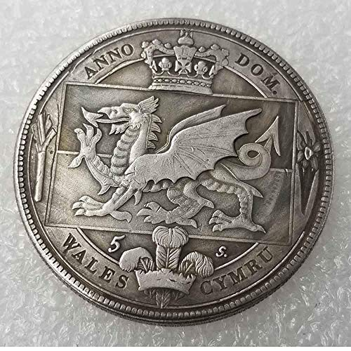 YunBest Best Morgan Silver Dollars – Corona galesa británica 1887 Old Silver Coin-UK Old Coin Collecting – Moneda de Plata de dólar Antiguo BestShop