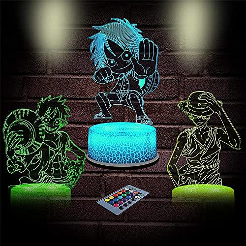 Monkey D. Luffy - Lámpara de noche de ilusión 3D, lámpara pequeña, 16 colores, con mando a distancia, cambiante, idea de regalo de cumpleaños para niños y niñas