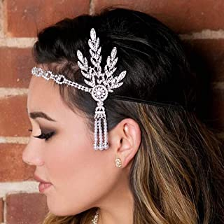 Zoestar Vintage Flapper Headbands Gatsby Feather Headpiece 1920s Feather Headband Crystal Hair Accessories for Women