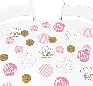Big Dot of Happiness Hello Little One - Pink and Gold - Girl Baby Shower Giant Circle Confetti - Party Decorations - Large Confetti 27 Count