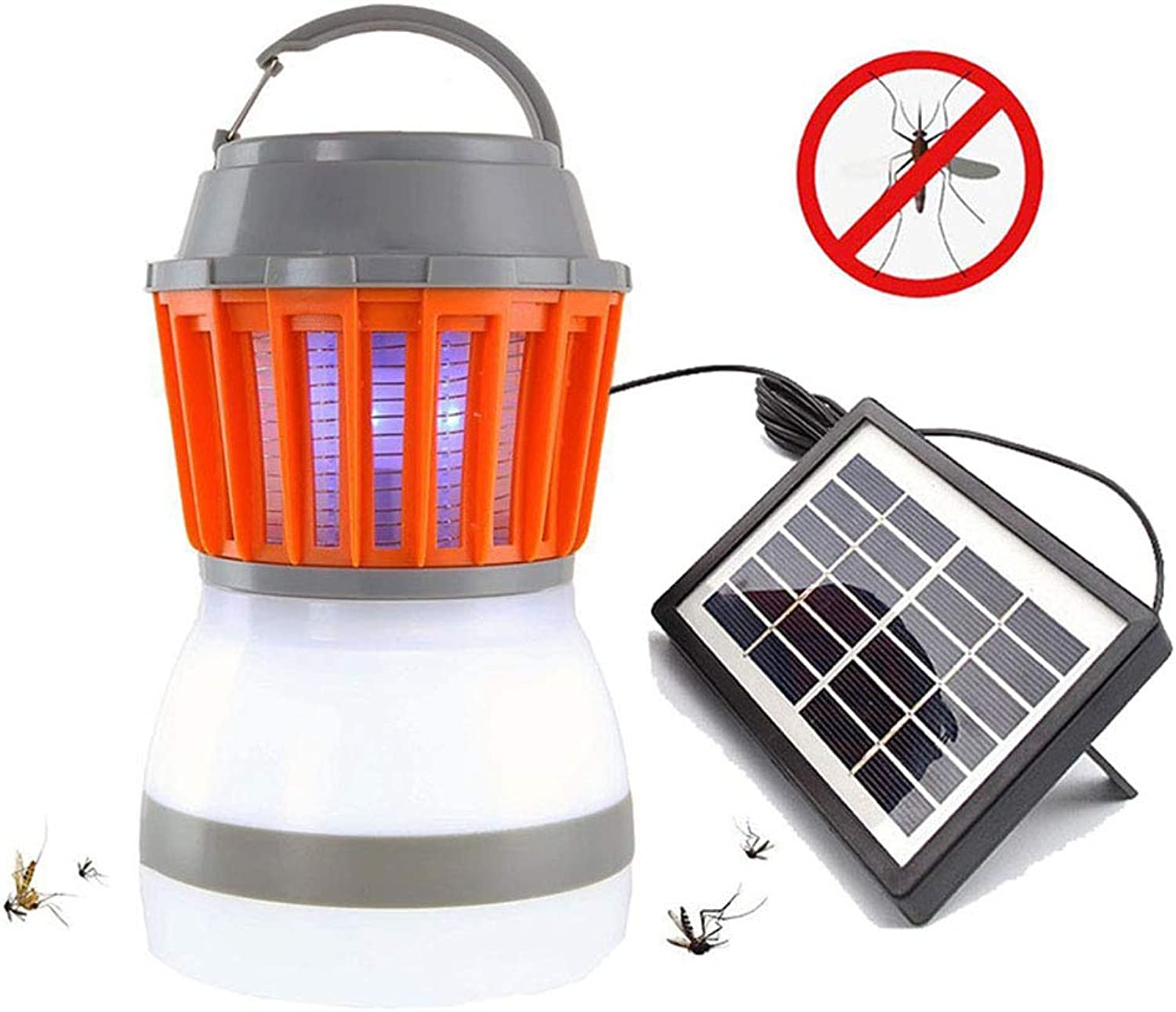 Solar Powered Mosquito Killer Lamp Bug Trap Camping Lantern 2in1 Portable USB Anti Mosquito Moth Fly Electric UV Light