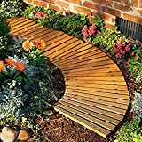 Plow & Hearth 52128 Roll Out Wooden Curved Garden Pathway, Natural Cedar
