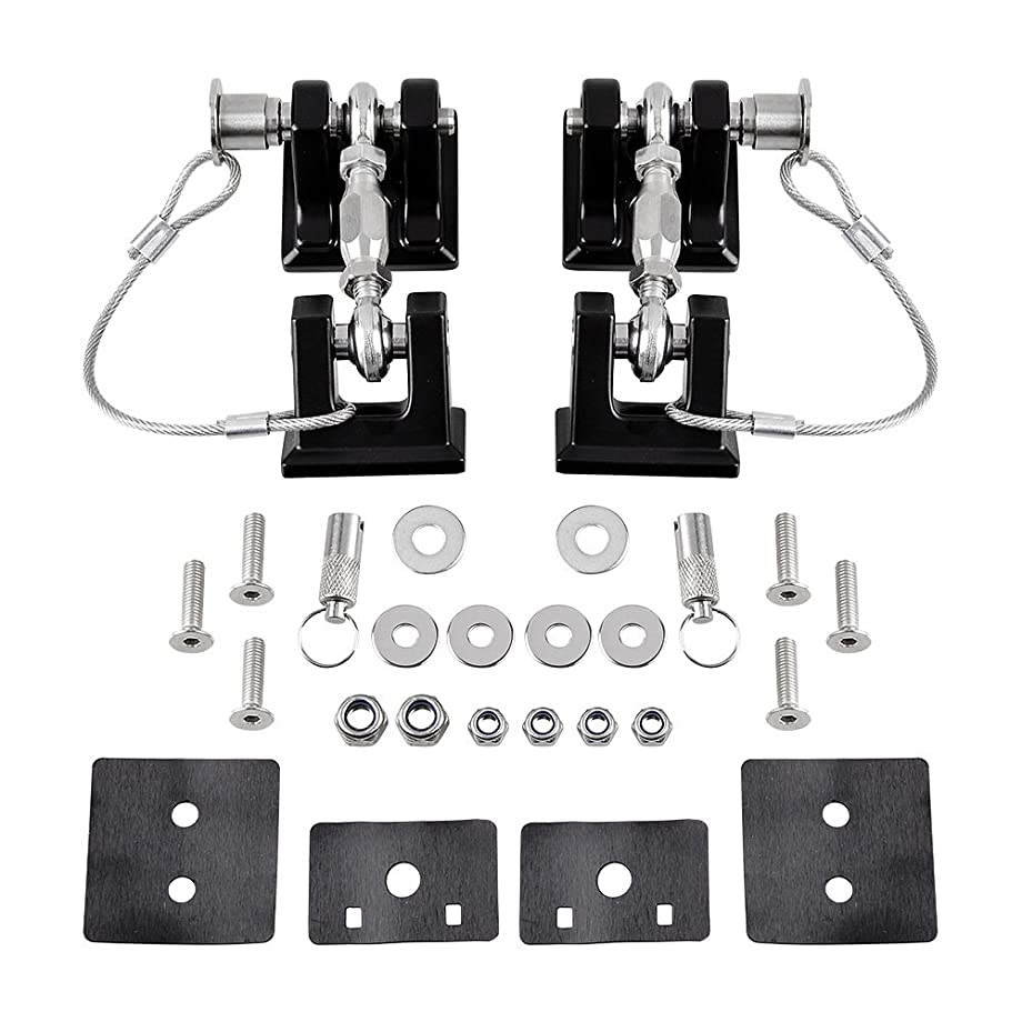Astra Depot 2pcs Aluminum Locking Hood Look Catch Latches Buckle Brackets with 2 Keys Kit Compatible with 2007-2017 Jeep Wrangler JK/Unlimited