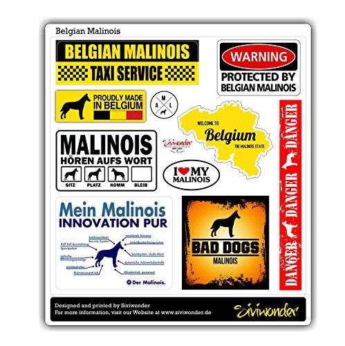 Siviwonder Auto Sticker COLLECTION SET 10 Aufkleber Belgian MALINOIS WARNING ALARMANLAGE Hundeaufkleber reflex