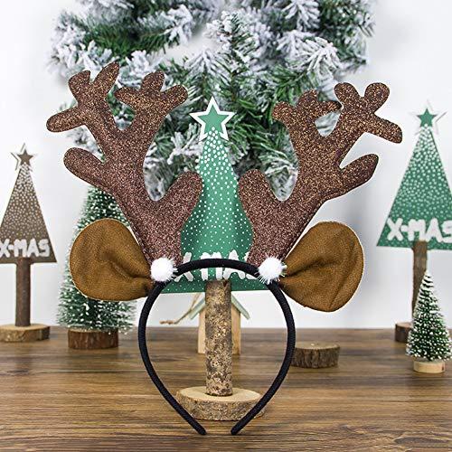 Yiwa Kerstdecoratie van stof, mooie kerstdecoratie hert hout hoofdband haarband kerstkostuum cosplay geschenken