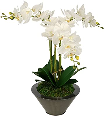 Artificial White Triple Stem Orchid in Round Zinc Vase (Gunmetal)