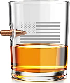 .308 Authentic Solid Copper Projectile Whiskey Rocks Glass Engraved with American Flag