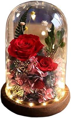 プリザーブドフラワー ドライフラワー 枯れない花 ホワイトデー バレンタインデー プロポーズ ギフト プレゼント 誕生日 結婚 記念日 母の日 新年 妻 娘 彼女 恋人 両親 彼氏 友人 友達 新築祝い 出産祝い 女性バラ ローズ アジサイ 赤い ピンク パープル LEDライト 電池式 ガラスポット メッセージカード付き ラッピング済み YUDSUKI