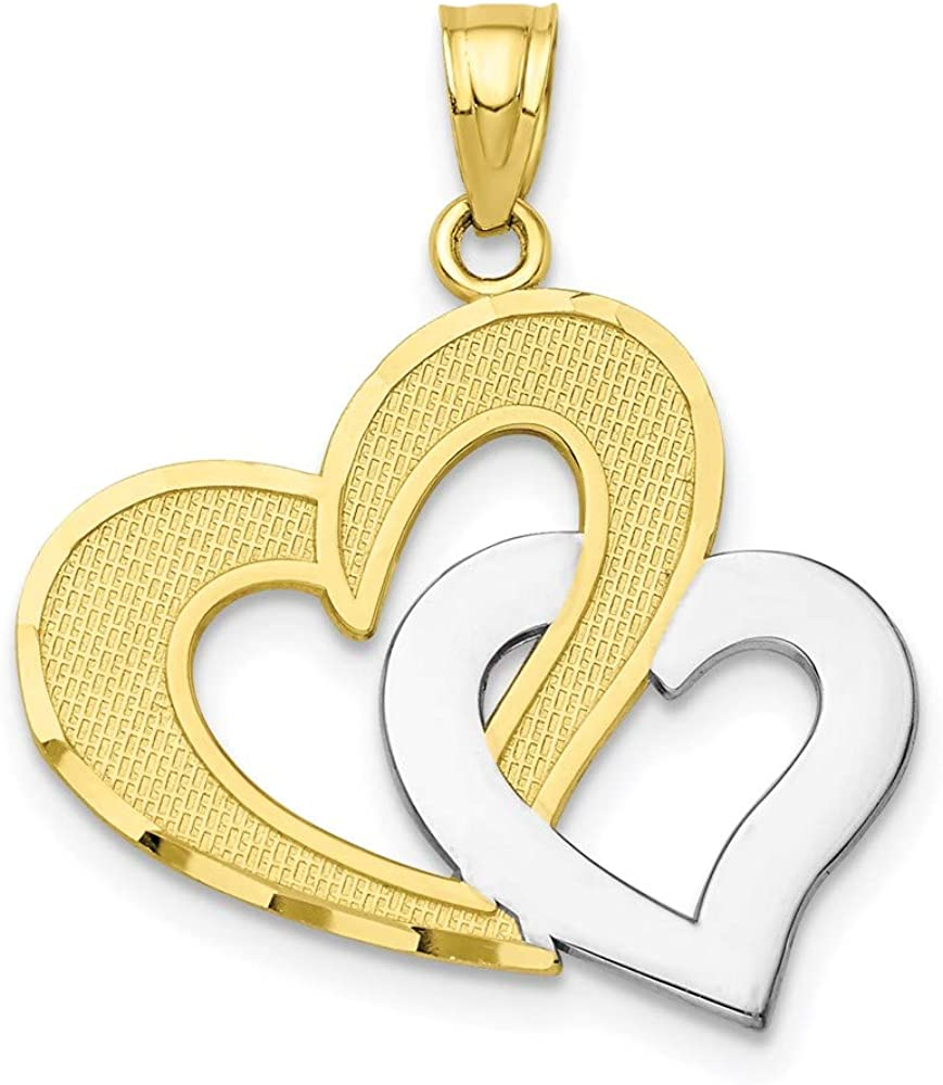 10k Yellow Gold Double Heart Pendant Charm Necklace Love Multiple Fine Jewelry For Women Gifts For Her