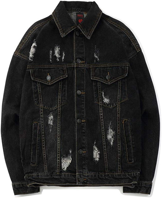 Men's Hole Spring and Autumn Trend Loose Hip Hop Handsome Denim Jacket (color   Black, Size   M)