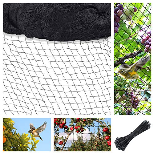 Bird Netting for Garden Poultry Net with Zip Ties Nylon Garden Netting with ⅘ inch Square Mesh Light Weight and Durability Protect Garden Farm Fruit and Vegetables (13Ft x 24.6Ft(4 x7.5M), Black)