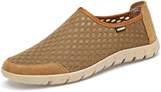 Ranipobo Men Fashion Casual Sports Shoes Slip On Style Mesh and Pigskin Stitching for Men (Color : Earthy Yellow, Size : 9.5 UK)