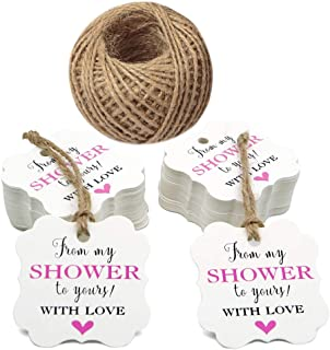 Original Design 100 Pcs from My Shower to Yours Tags and 100 Feet Jute Twine,Pink Bridal Shower Favor Tags,Baby Shower Favor Tags