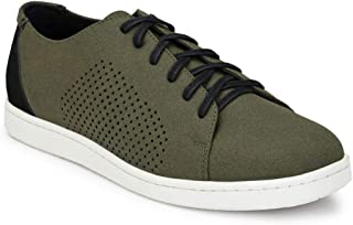 Parx Solid Green Coloured Synthetic Men Shoes