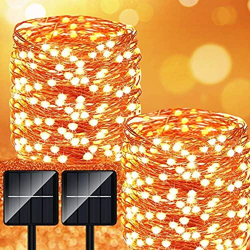 Luci Solari Esterno Catena Luminosa - 2 Pezzi 28M 280LED Lucine Giardino con 8 Modalità Impermeabili Adatto per Interni ed Esterni Interno per Festa Natale Patio Cancello Matrimonio