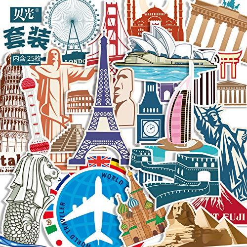 SHUYI Adesivi Valigia Trolley Città Europee e Americane Adesivi Valigia Bagagliaio Impermeabile Retro Edificio Bagagli scrivania Adesivi