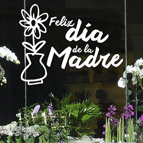 IDEAVINILO - Vinilo Felíz día de la Madre. Color Blanco. Medidas: 85x60cm