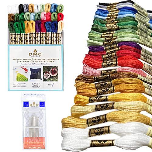 DMC 刺繍フロスパック、カラフルなホリデーコレクション、DMC 刺繍糸、キットには、DMC クロスステッチハンドニードルと30個のコットンアソートカラーバンドルが含まれます。サイズ1-5. プレミアム刺繍ストリング/糸。