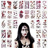 Tuofang 30 Hojas Tatuajes Temporales de Cicatriz Sangrienta de Halloween, Halloween Cicatrices Heridas Tatuajes, Decoración de Cosplay de Zombis y Pegatinas para el Partido de Halloween Prop