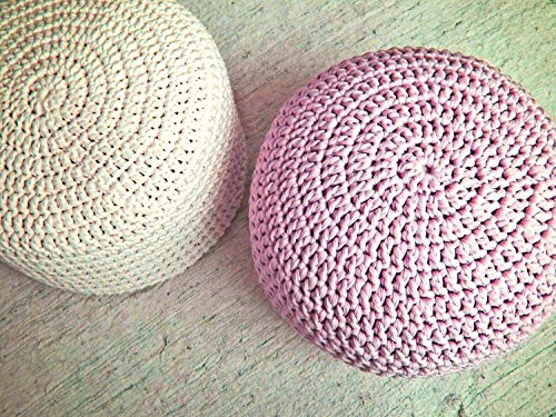 Light Pink Nursery Foot stool Pouf Ottoman-Baby Pink Nursery Decor-Furniture Crochet Floor Cushions -Kids Knit Bean Bag-Baby Shower Gifts