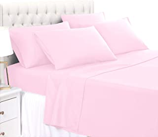 BASIC CHOICE 6 Piece Sheet Set - Extra Soft, Hypoallergenic, Wrinkle & Fade Resistant Bed Sheets, California King, Baby Pink