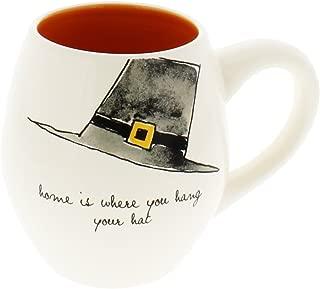 Rae Dunn by Magenta PILGRIM HAT Thanksgiving Coffee Mug Orange Interior