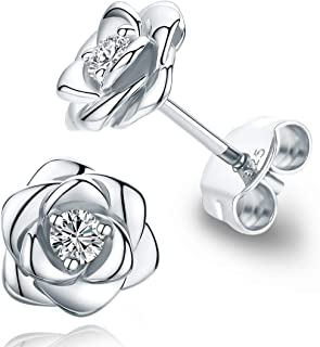Gold Plated Sterling Silver Rose Flower Ear Studs, Hypoallergenic & Nickel Free Earrings for Women