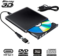 $79 » External Blu Ray DVD Drive 3D, USB 3.0 Typc C Portable Bluray DVD CD Optical Burner RW CD Row for MacBook OS Windows 7 8 10 PC iMac (Black)