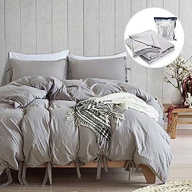 BullStar Natural Duvet Cover King Washed Cotton Duvet Cover Set Ultra Soft Breathable Bed Linen (King, Gray)