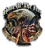 Erazor Bits Collectible Patriotic Decals, Home of The Free Because of The Brave Sticker, Support The Troops Vinyl, Bald Eagle Truck Sticker for Your Car, Cases and Coolers MM141D-4-002 (4in,2pack)