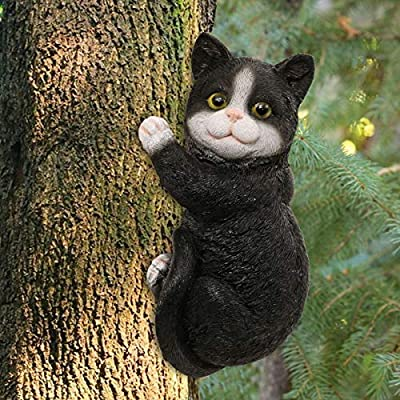 LIMEIDE Cat Tree Hugger Tree Garden Peeker Polyresin Outdoor Tree Sculpture - Gifts and Garden Décor Statue Face for Trees, 9 x 4.7 inch (Black)