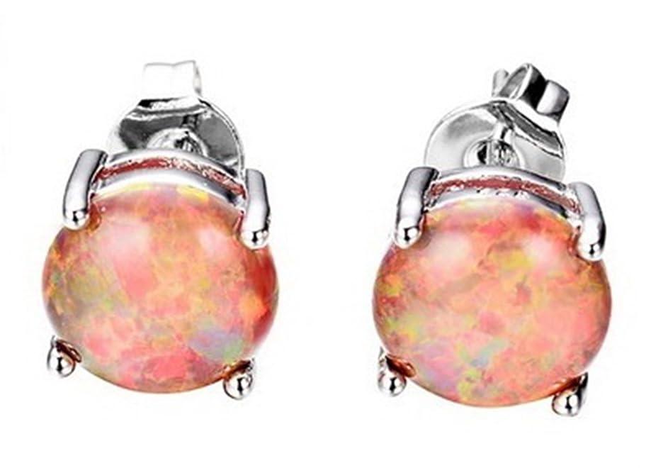 Fortonatori Created Orange Opal Earrings Stud Silver 925 Round Ball 0.29 inches (7.5mm)