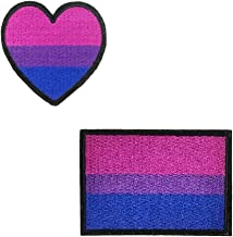 2 pcs Set Bisexual Pride Flag Patches Bi Pride Heart Badge Gay Marriage Rights Lesbian LGBT Pride for Clothing Tshirt Transfer