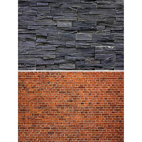 GREAT ART Set de 2 Posters XXL - Paredes de Piedra Oscura - Piedra Natural Negra Ladrillos Rojos Revestimiento de Paredes Aspecto Piedra Mural decoración de la Pared (140 x 100 cm)