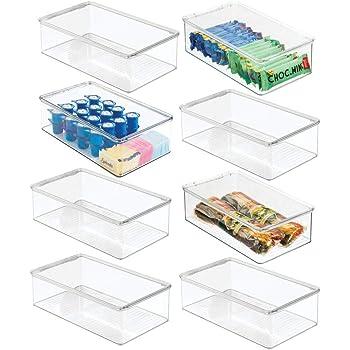 mDesign Juego de 8 Cajas organizadoras de plástico para Nevera – Recipiente para Guardar Alimentos con Tapa – Organizador para Nevera, Cocina y despensa Apto para Alimentos – Transparente: Amazon.es: Hogar