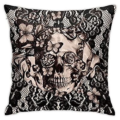 Yaateeh Vintage Victorian Gothic Lace Black Skull Rose Throw Pillow Covers Decorative 18x18 Inch Pillowcase Square Cushion Cases for Home Sofa Bedroom Livingroom