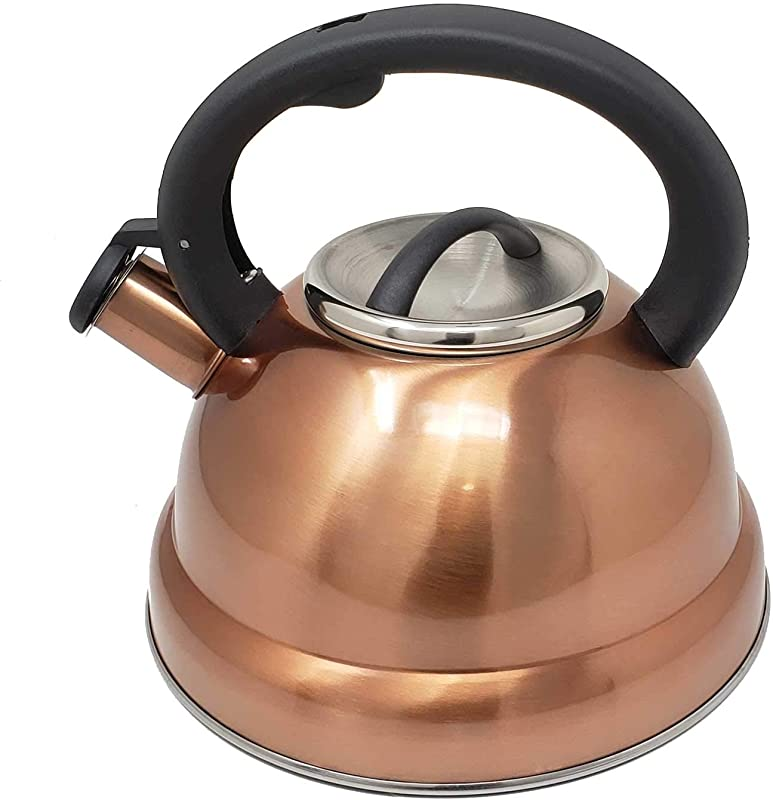 3 Quart Classic Stainless Steel Copper Finish Whistling Tea Kettle With Cool Grip Handle Works On All Stoves Types Ideal For Tea Coffee Fast Boiling Base