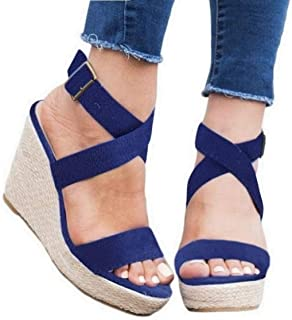 Womens Wedge Platform Espadrille Cross Ankle Strap Slingback Open Toe Summer High Heel Sandals
