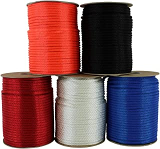 Nylon Rope (3/8 inch) Solid Braid - SGT KNOTS - Multipurpose Braided Utility Cord Line - High Strength - Commercial, Anchors, Crafts, Blocks, Pulleys, Towing, Cargo, Tie-Downs (250 feet - Black)