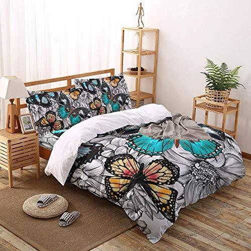 Juego de Funda nórdica de Mariposa de Color de Flores Juego de Cama de 2/3/4 Uds con Funda de Almohada Juego de Cama Textiles para el hogar Juegos de edredón