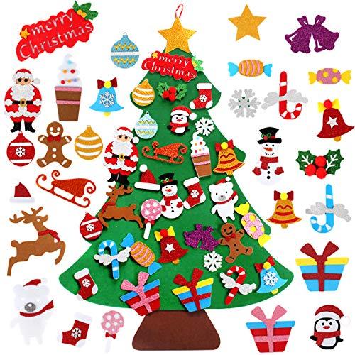 Decoración de árbol de Navidad de fieltro – Árbol de Navidad no tejido de 1 m con 28 adornos de oro en polvo de Navidad, decoración de pared para árbol de Navidad regalos para niños Año Nuevo, hogar