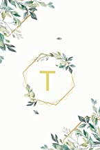 "Τ: τ Tau, Initial Monogram Greek Alphabet Letter Τ Tau, Cute Interior Leaves Decoration, Lined Notebook/Journal, 100 Pages, 6""x9"", Soft Cover, Matte Finish"