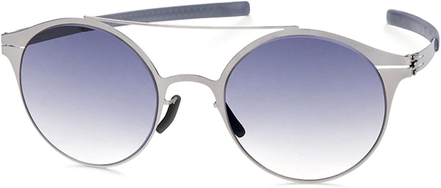 Ic  Berlin whitea F Sunglasses Pearl Silver Frame   Black to Clear Gradient Lenses