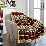 PAVILIA Premium Christmas Blanket Sherpa Fleece Throw| Plush Christmas Decoration, Reindeer, Cozy Reversible Winter Holiday Cabin Blanket for Sofa Couch 50x60