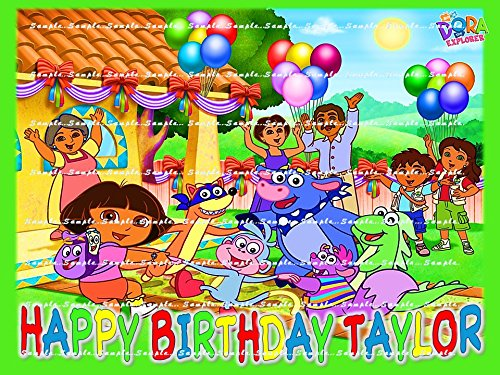 DORA THE EXPLORER : Personalized edible image Birthday Party Cake topper decoration premium frosting sheets