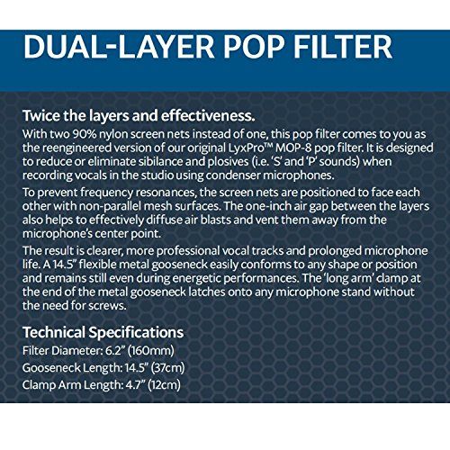 LyxPro MOP-28 Dual Layer Microphone Pop Filter with Flexible Goozeneck for Superior Vocal Performance, Pop Shield